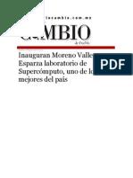 18-08-2015 Diario Mtutino Cambio de Puebla - Inauguran Moreno Valle y Esparza Laboratorio de Supercómputo, Uno de Los Mejores Del País