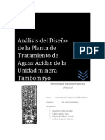 Analisis Del Diseño de La Planta de Tratamiento de Aguas Acidas - U.M. Tambomayo