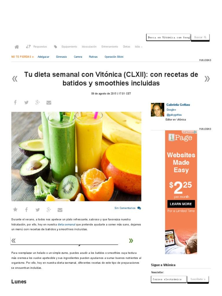dieta semanal para perder obesidad vitonica