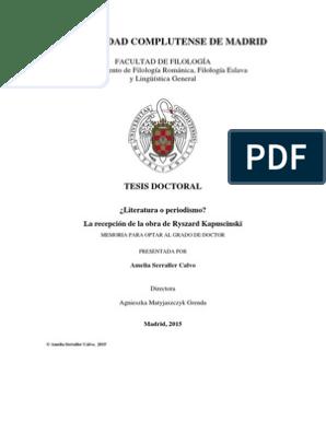 Literatura Y Periodismo Una Tesis Doctoral Autor Polonia
