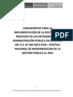 Lineamientos de gestión por procesos