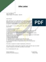 offer letter sample draft