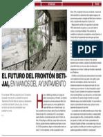 EL FUTURO DEL FRONTÓN BETIJAI, EN MANOS DEL AYUNTAMIENTO (El Economista - 14/07/2015)