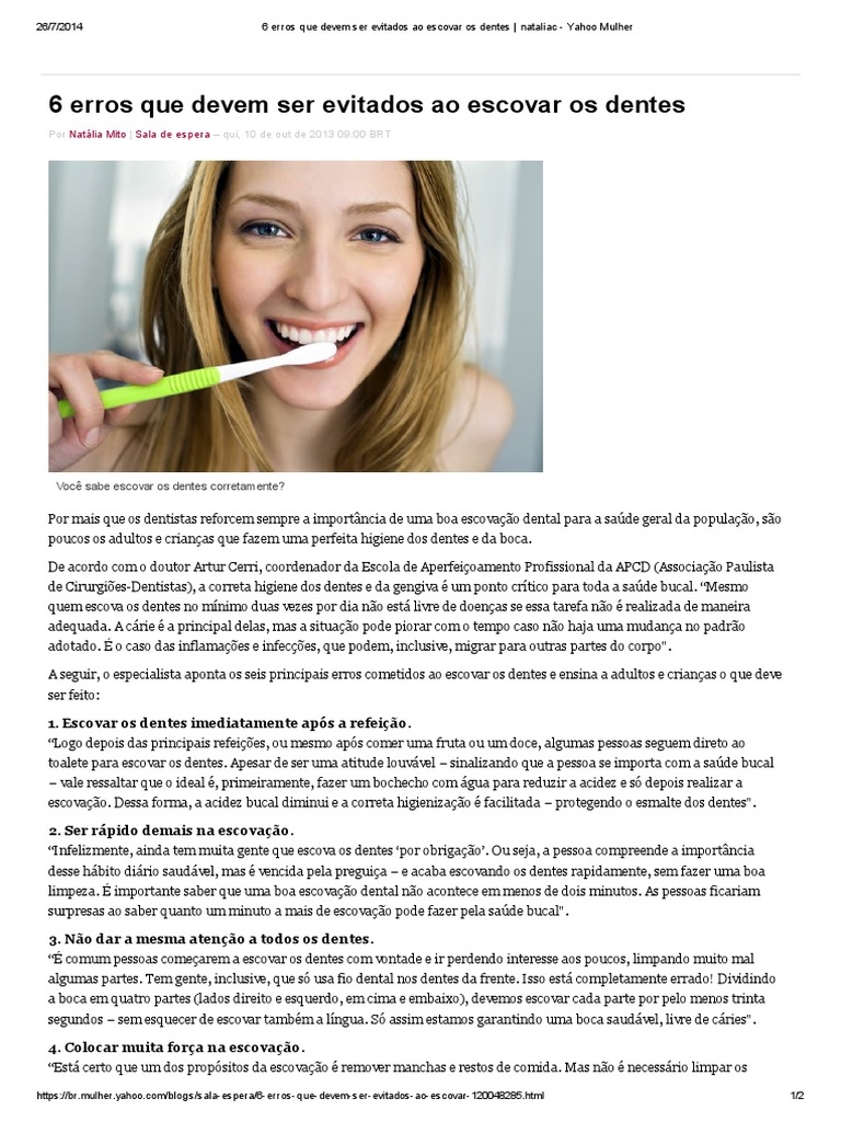 6 Erros Que Devem Ser Evitados Ao Escovar Os Dentes Nataliac