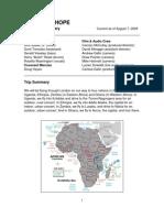 JOHN BLAKE, JR. - SUMI TONOOKA - A NOTE OF HOPE - Africa Tour Itinerary