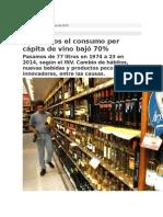 En 40 Años El Consumo Per Cápita de Vino Bajó 70%