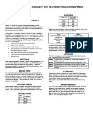 Student Disclosure Document For Spanish Introduction/Spanish 1