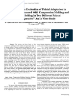 """""""A Comparative Evaluation of Palatal Adaptation in Denture Bases Processed With Compression Molding and Injection Molding In Two Different Palatal Configuration""""-An In Vitro Study"""