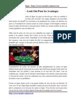 Casino en Ligne - Look Out Pour Les Avantages
