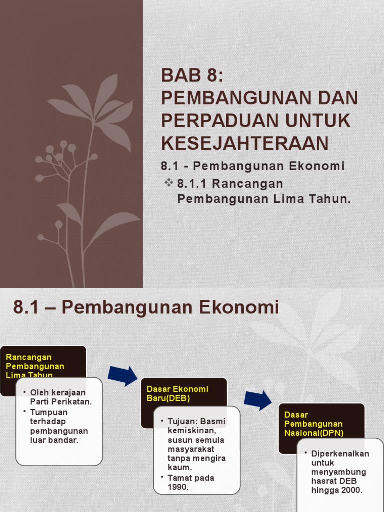 Sejarah Tingkatan 5 Bab 8 Rancangan Pembangunan Lima Tahun Tahap Pertama