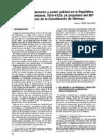 Constitucion, Derecho y Poder Judicial en La Republica de Weimar