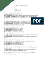 Open Letter Full Signatory List