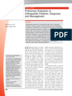 Pulmonary Embolism in Orthopaedic Patients- Diagnosis and Management