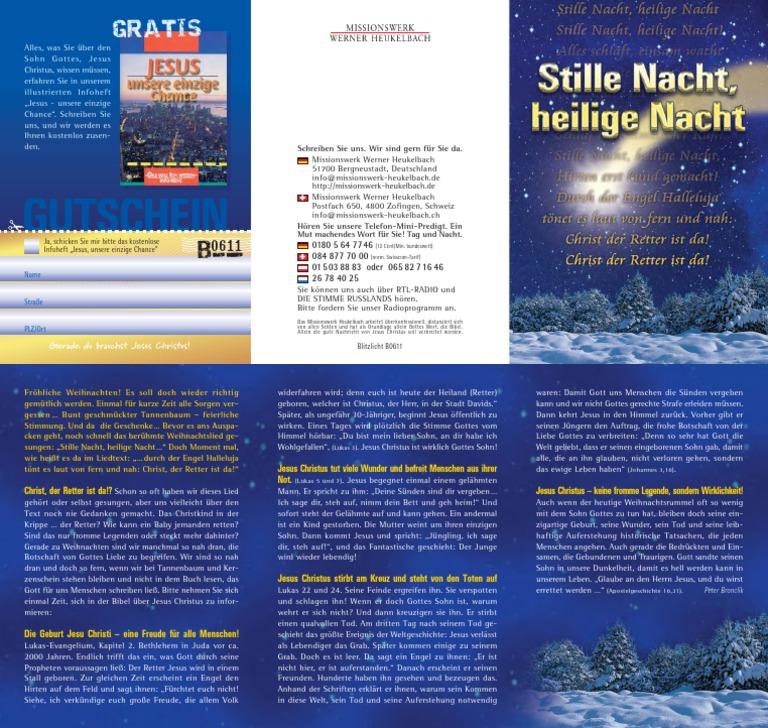 Werner Heukelbach Stille Nacht Heilige Nacht Bibel Gott Jesus