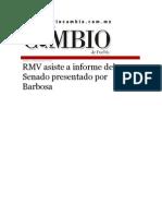18-08-2015 Diario Matutino Cambio de Puebla - RMV Asiste a Informe Del Senado Presentado Por Barbosa