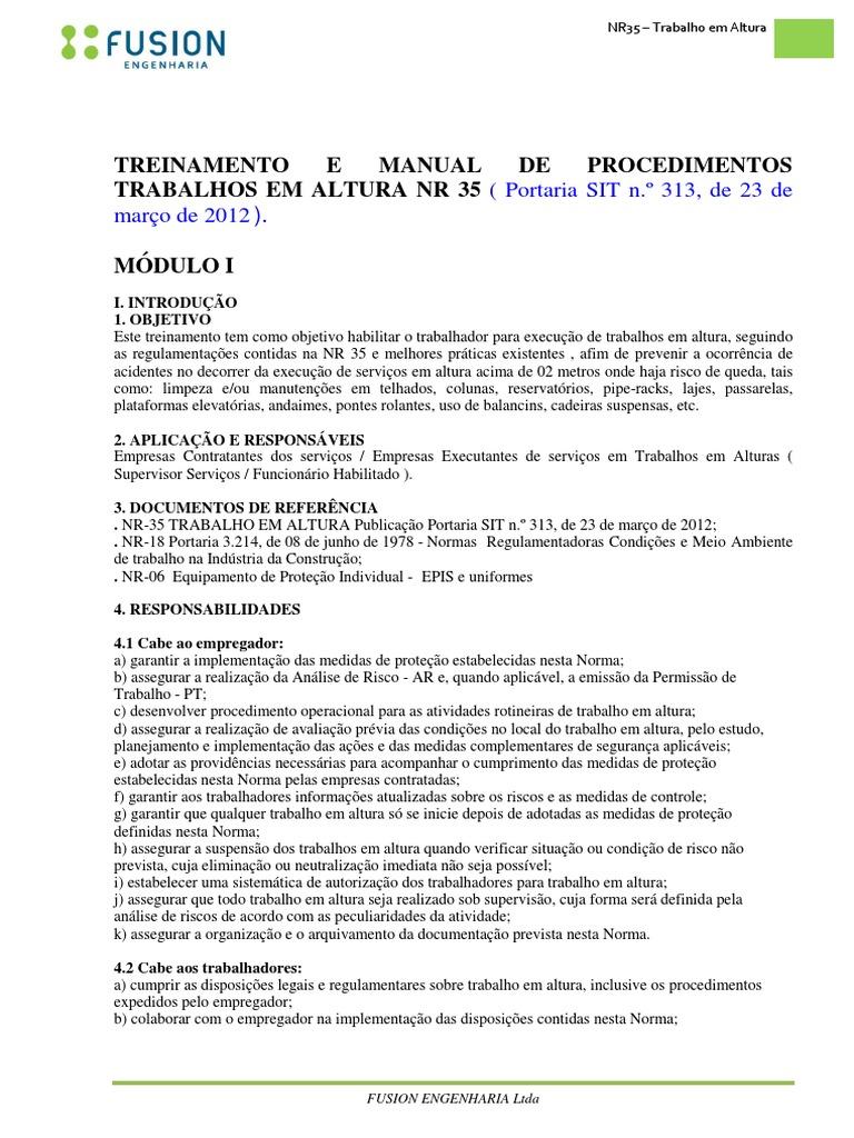 Nr - 35 Trabalhos Em Altura Modulo i b6fc310968