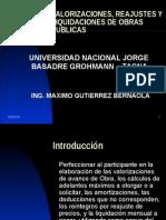 Valorizaciones, Reajustes y Liquidaciones de Obras Publicas 2012