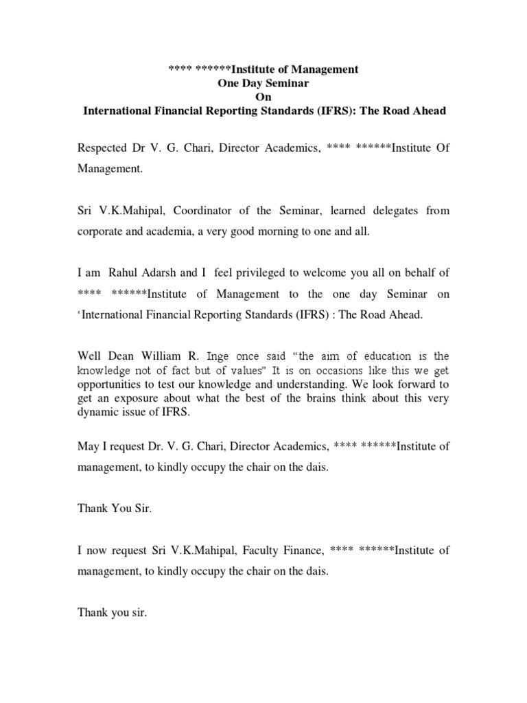 Anchoring Script for International Seminar (IFRS) | International