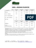 Resina Poliester - Proporciones de Mezcla
