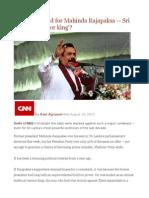 End of the Road for Mahinda Rajapaksa -- Sri Lanka's 'Warrior King'