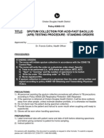 Sputum Collection AFB Testing Procedure Standing Orders