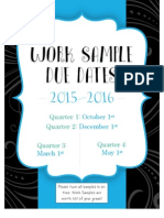 work sample due dates 2015-2016