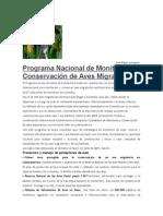 Programa Nacional de Monitoreo y Conservación de Aves Migratorias