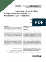 Desarrollo y caracterización de un destilador solar para su aprovechamiento en el tratamiento de agua contaminada