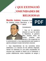Ley Que Extinguió Las Comunidades de Religiosas