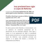 Benito Juárez Proclamó Hace Siglo y Medio Las Leyes de Reforma