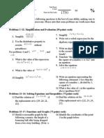 PCS1314 Algebra I Chapter 1 Test
