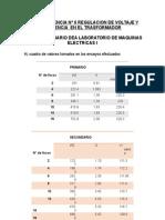 Regulacion de Voltaje y Eficiencia en El Transformador Monofasico