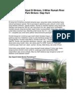 Iklan Rumah Dijual Di Bintaro, 5 Miliar Rumah River Park Bintaro- Siap Huni