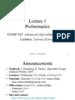 Lecture Preliminaries