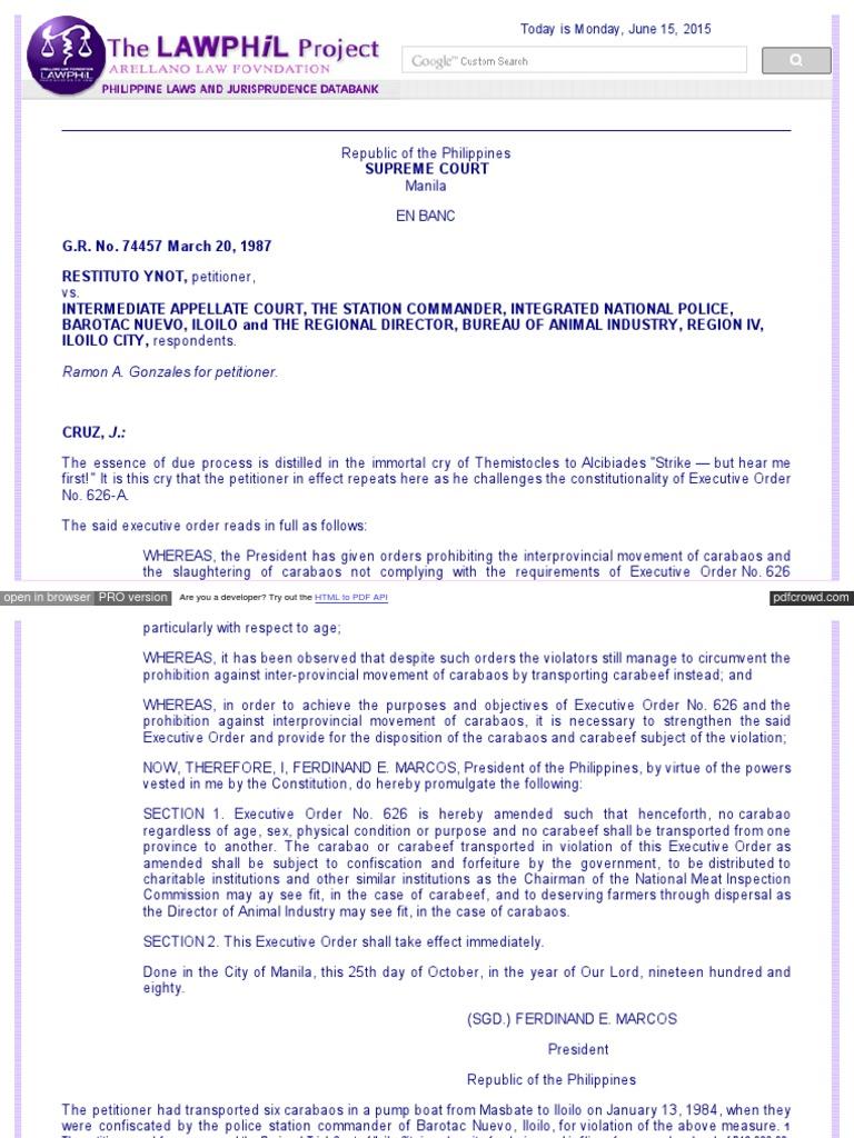 Gr No. 74457 Ynot v. Iac, Et Al 148 Scra 659 | Due Process Clause ...