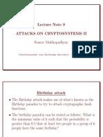 Attacks on cryptosystem