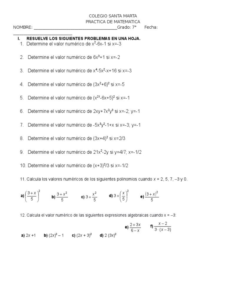 Valor Numerico De Un Polinomio Enseñanza De Matemática