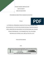 El Aprendizaje Significativo Estudio de Los Textos Escolares Que Entrega El Gobierno Ecuatoriano