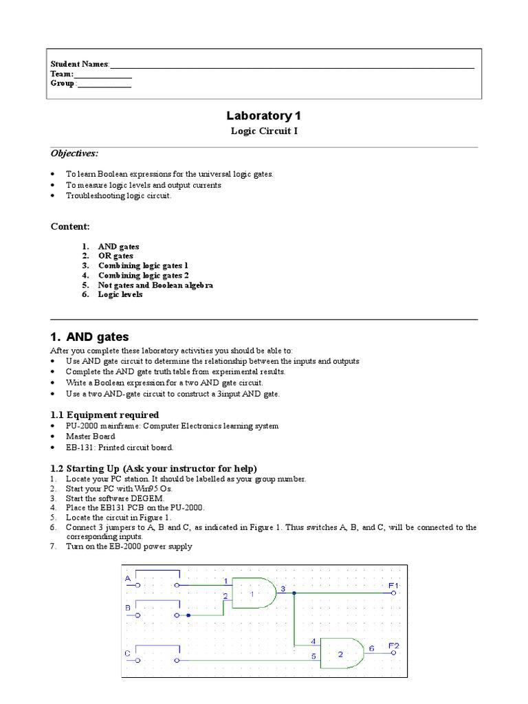 Lab1 Boolean Algebra Logic Gate Diagrams
