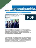 19-08-2015 RegionalPuebla.mx - Ratifica RMV Compromiso Con La Comisión Ambiental de La Megalópolis