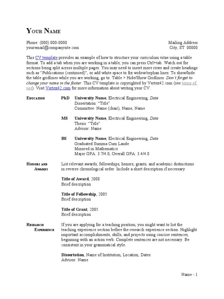 Dissertation publication cv