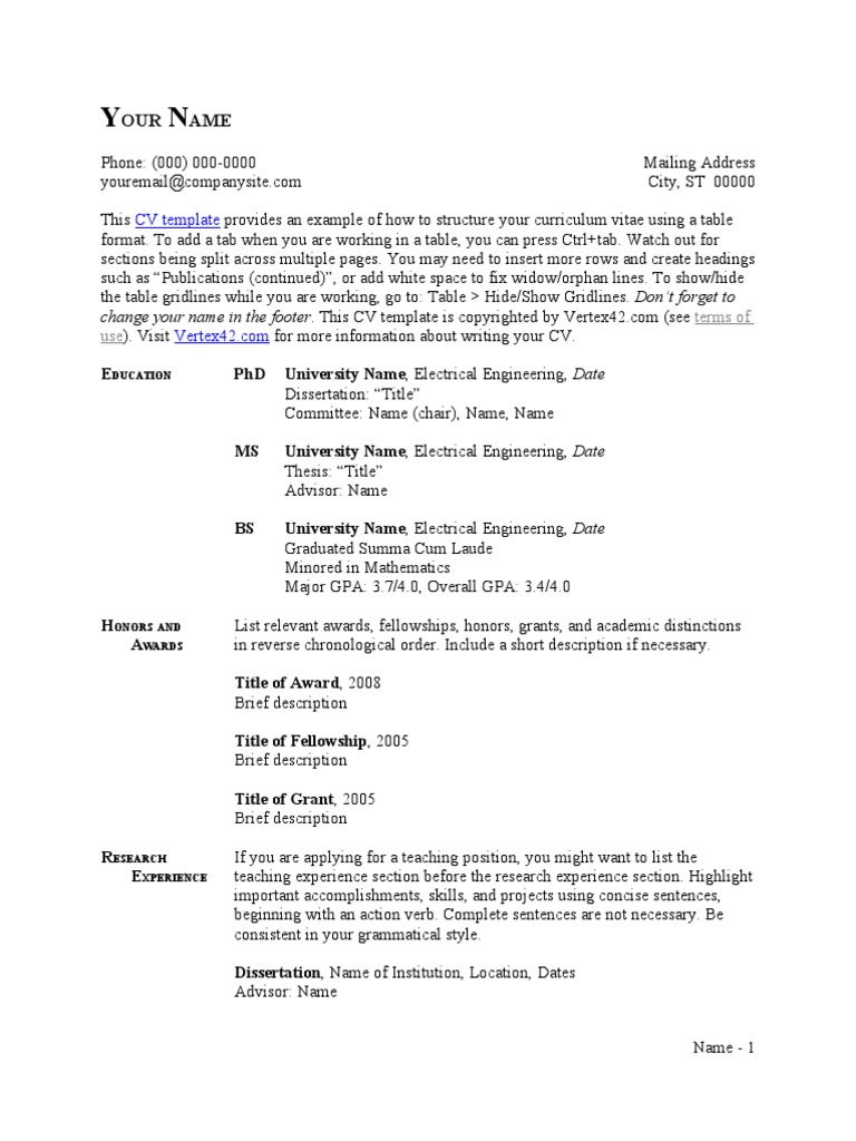 Cv Template Table Format Thesis R 233 Sum 233