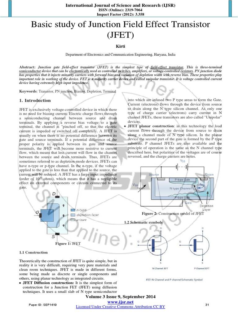 1 Basic Study Of Jfet Paper Field Effect Transistor Pn