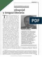 Lengua Coloquial y Lengua Literaria