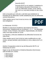 Analisis Comparativo de La Ley de Educación 66-97 y La Ordenanza 03-2013
