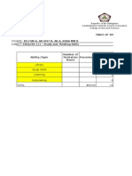 Table of Specifications Prelim