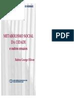 OLIVEN Ruben Metabolismo Social Da Cidade