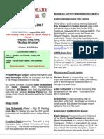 Moraga Rotary Newsletter- August 18, 2015