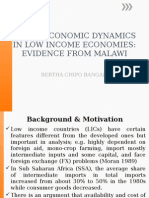 Macroeconomic Dynamics in Low Income Economies; Evidence From Malawi