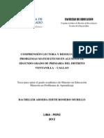 2012 Romero Comprensión Lectora y Resolución de Problemas Matemáticos en Alumnos de Segundo Grado de Primaria Del Distrito de Ventanilla Callao